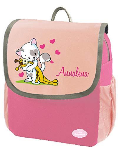 Mein Zwergenland Kindergartenrucksack Happy Knirps NEXT mit Name Katze, 6L, Pink