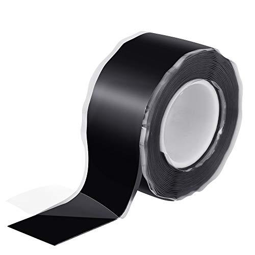 TANCUDER 3mX25mm Selbstverschweißendes Silikonband, Selbstklebendes Abdichtband Isolierband für Schlauchreparatur, Schlauchabdichtung, Kabelreparatur, Elektrischer Anschluss (Schwarz)