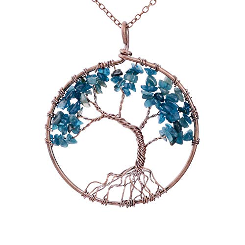 Family Root Wire Wrapped Tree of Life Crystal Pendant Necklace Charm Light Sapphire Pendant September Semi Precious Natural Raw Birthstone Birth Stone Necklace Wisdom Tree Necklace
