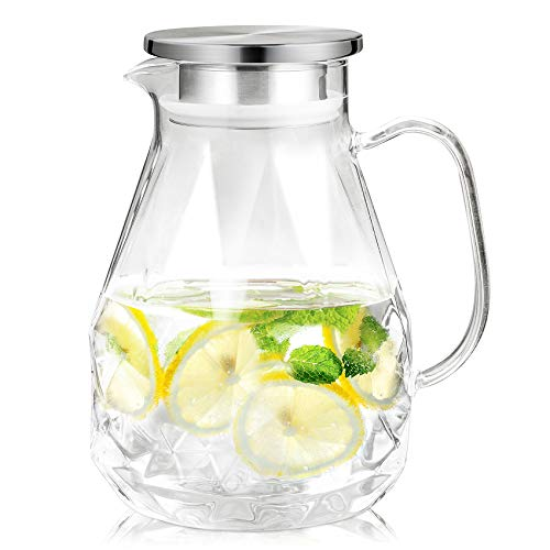 Sotya Glass Pitcher With Lid and Spout,60oz/1800ml Water Pitcher with Unique Diamond Pattern,Water Carafe for Hot/Cold Water,Homemade Beverage,Iced Tea and Juice