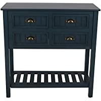 Decor Therapy Bailey Bead board 4-Drawer Console Table (Antique Navy)