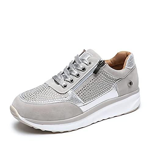 MIAOFA Zapatos Planos Casuales para Mujer Mocasines con Suela Suave de Punta Redonda y Cremallera Lateral Zapatillas para Correr Ligeras con amortiguación cómoda y Transpirable,3,41