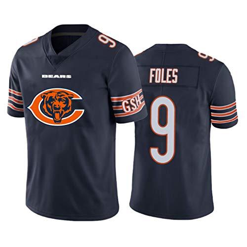 Chicago Bears 9# Rugby-Trikot, American Football-Trikot Nick Foles # 9, Besticktes, schnell trocknendes Kurzarm-Sport-T-Shirt-Sweatshirt für Herren-NavyBlue-XL