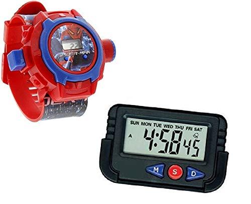 Pappi-Haunt Kids Favorite - Confezione da 2 Cinturini per proiettore Spider-Man per Bambini, Bambini + cruscotto per Auto / Orologio da Tavolo Sveglia da Ufficio con cronometro e Supporto Flessibile
