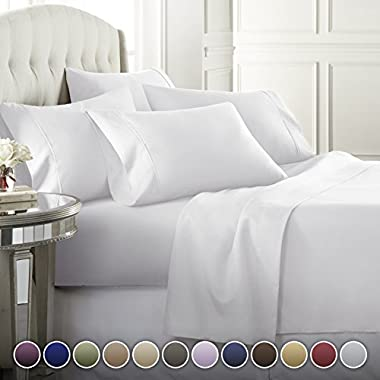 6 Piece Hotel Luxury Soft 1800 Series Premium Bed Sheets Set, Deep Pockets, Hypoallergenic, Wrinkle & Fade Resistant Bedding Set(Calking, White)