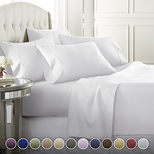 6 Piece Hotel Luxury Soft 1800 Series Premium Bed Sheets Set, Deep Pockets, Hypoallergenic, Wrinkle & Fade Resistant Bedding Set(Full, White)