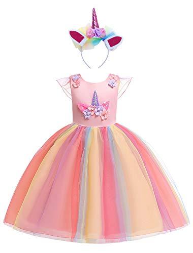 Eleasica Vestido de Unicornio para Niñas Pequeñas Infantiles Cosplay Unicornio Fiestas de...
