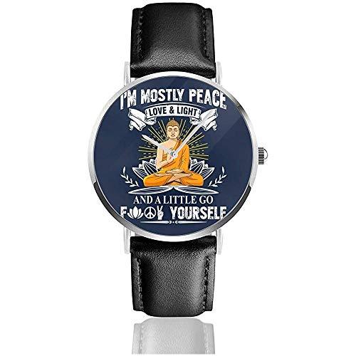 Im Frieden Liebe Licht und EIN wenig gehen FCK Yourself Uhren Quarz Lederuhr mit schwarzem Lederband für Sammlung Geschenk