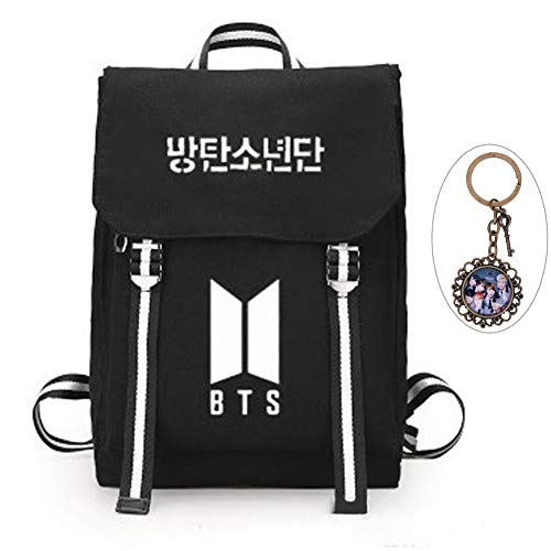 YEeyuTrwd BTS Rucksack KPOP BTS Bangtan Boys Schulranzenrucksack Laptop/Hochschule/Büchertasche BTS Album Fans Tasche mit einem Weinles Schlüsselanhänger(Black 3)