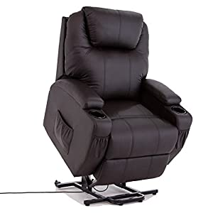 Lift chair with reclining function Suitable for the home and office environment; One motor chair: reclines to 135 degrees,back and footrest work together Very comfortable and relaxing armchair with soft real leather