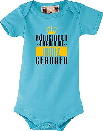 Shirtstown Dulce Body Bebé Königinnen Werden Im März Nacido - Azul Claro, 6-12 Monate