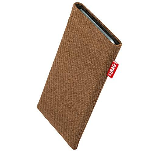 fitBAG Rave Braun Handytasche Tasche aus Textil-Stoff mit Microfaserinnenfutter für Carbon 1 MKII | Hülle mit Reinigungsfunktion | Made in Germany
