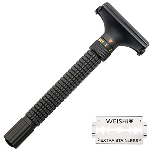 Weishi Nostalgic Adjustable Butterfly Open Double Edge Safety Razor Matte Black