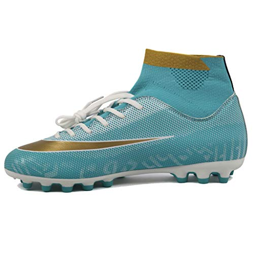LIXIYU Chaussures de Foot pour Enfants Bottes de Foot Respirantes pour Hommes/Filles Unisexes Chaussures de Foot à Lacets, 23736G Moon Color Long nail-30