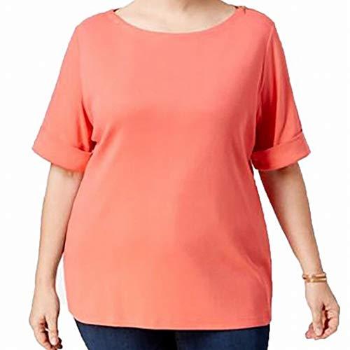 Karen Scott Womens Plus Cotton Boatneck T-Shirt Orange 1X