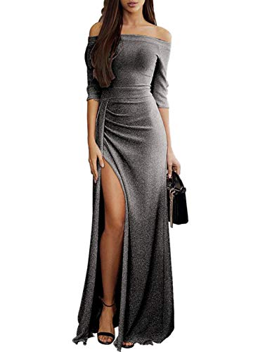 Elegant Maxi Party Dresses for Women Evening Off Shoulder Sexy Formal High Slit Metaillic Prom Wedding Plus Size X-Large (US 16-18) L-black