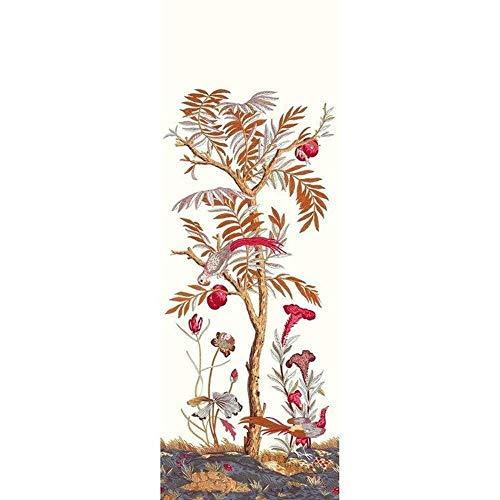 83538565 – Encyclopédie Arbre Fleurs Oiseaux Rouge Casadeco Papier peint