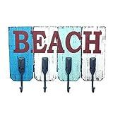 CAPRILO Percha de Pared Decorativa de Madera con 4 Ganchos Playa. Percheros. Adornos y Muebles Auxiliares. Percheros. Decoración Hogar. Regalos Originales. 34 x 48 x 6 cm.