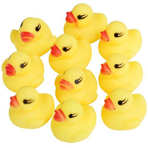 TRIXES Lot de 10 Mignons Mini Canards Grinçants Jaunes pour Le Bain