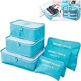 6 set da viaggio imballaggio cubi organizzatori con borsa per scarpe - Essential Luggage Compression Storage Pouches Blue