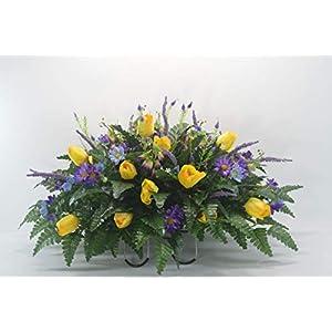 R39 Cemetery Flower Arrangement, Headstone Saddle, Grave, Tombstone Arrangement, Cemetery Flowers