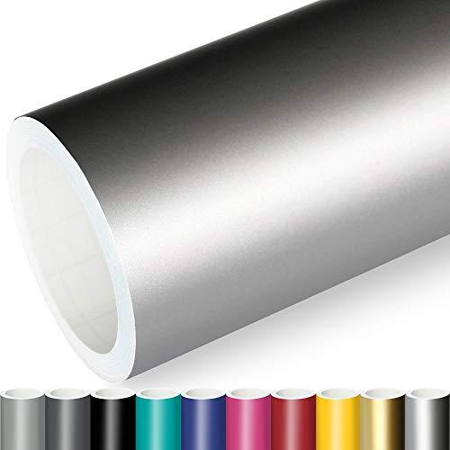 Actinium® Klebefolie 7€/m² Silber Matt | 5m x 0,63m selbstklebende matte Folie | Möbelfolie selbstklebend Küchenfolie Plotterfolie