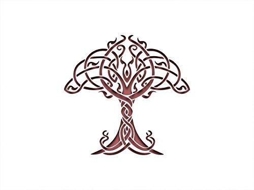 PixieBitz Schablone mit keltischem nordischen Knotenbaum, 30,5 x 20,3 cm, 190 Mu Mylar, Airbrushing, Basteln, Grafitti