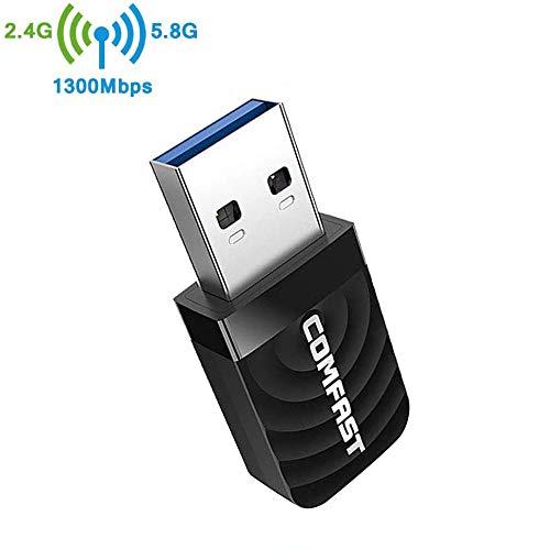 CONTINUE WiFi Adaptador AC 1300Mbps USB WiFi Receptor Dual Band 2.4G/5GHz,USB 3.0,Adaptador Wi-Fi para computadora portátil de Escritorio,Soporta Windows XP / 7/8 / 8.1/10, Mac 10.9-10.14
