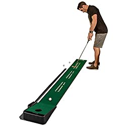 9-foot indoor putting green with continuous automatic ball return for developing accuracy and control Squaring and alignment guides at 3, 5, and 7 feet help promote consistency in every aspect of putting motion Continuous automatic ball return allows...