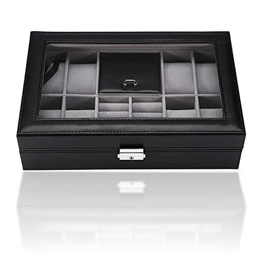Multifuncional 8 ranuras + 2 rejillas vitrina de reloj, excelente organizador de caja de moda para hombres y mujeres, para almacenamiento de joyas de anillo(8 ranuras + 2 joyero de reloj de rejilla)