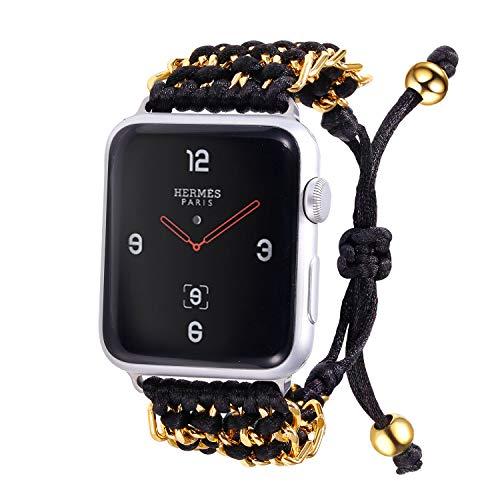bandmax Armband kompatibele für Apple Watch 42mm/44mm, Handgearbeitet schwarz Nylon Gewebe Gurt Ersatzarmband Surferarmband Uhrenarmband für Apple Watch Sport iWatch Series 5/4/3/2/1