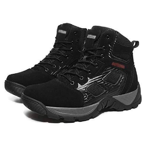 QINHE Botas De Senderismo para Hombre Botas Ligeras De Entrenamiento De Combate Botas Militares De Caza Transpirables Botas Altas para Exteriores Zapatos Militares del Desierto,Black-40
