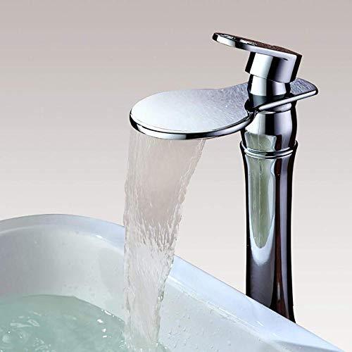 Waterkraan hedendaagse badkamer waterval wastafel mengkraan kraan één hendel op installatiegat brede uitloop hoge bekken kraan dekhouder chroom klaar