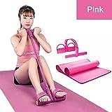 Webla Pedal Rally + Yoga Mat Tensor de tobillo Sit Up Rope Pedal Ejercitador Fitness Equipment(Rosa)