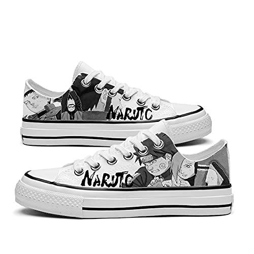JPTYJ Naruto Uchiha Sasuke Zapatos de Lona Unisex Zapatillas Altas Zapatos con Cordones de Anime C-40