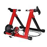Klevsoure 26-28 Pulgadas Soporte de Rueda de Bicicleta Estación de Entrenamiento de Ejercicio de Ciclismo en Interiores Entrenador de Bicicleta Control de Alambre Soporte de Bicicleta Fitness (Rojo)