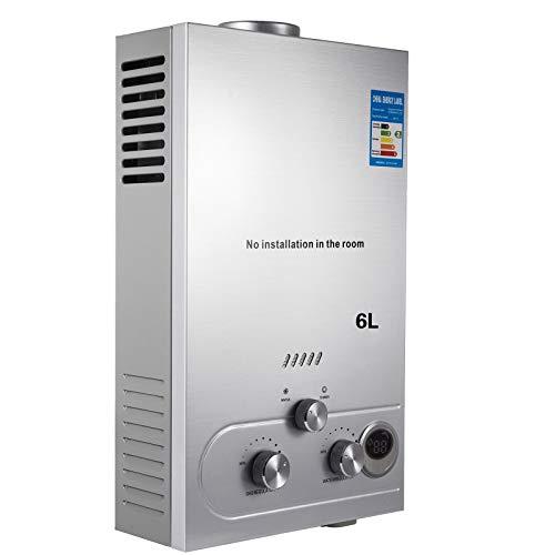 VEVOR Scaldabagno a Gas Liquefatto Scaldabagno A Gas LPG/LNG Scaldabagno Gas Con Digitale LCD Scaldabagno Automatico E Rapidamente 6L/8L/10L/12L/16L/18L (LNG, 6L)