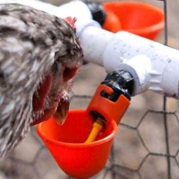 UNER Abreuvoir à Poule Automatique Tasses d'eau Potable Rouge Abreuvoir Poules Bien Pratique en Plastique pour Oiseaux Poule Volaille - 10PCS