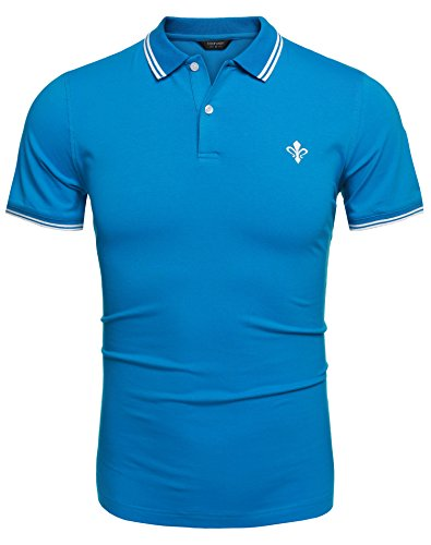 Coofandy Men's Polo Shirts Casual Slim Fit V-Neck Long Sleeve T Shirt Pullover