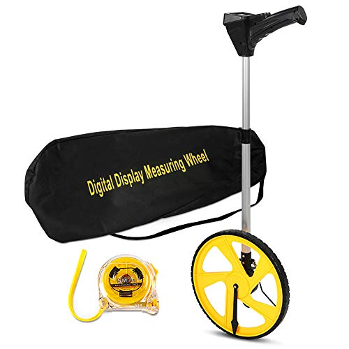 Measuring Wheel, Rolling Distance Measurment Wheel Professional Centerline Measuring Wheel Road Surveying Tool with Large Digital Display, 5m Measure Tape and Carrying Bag