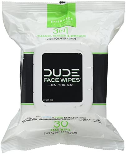 DUDE Face Body Wipes 30 Count Energizing Refreshing Scent Infused with Pro Vitamin B 5 Face product image