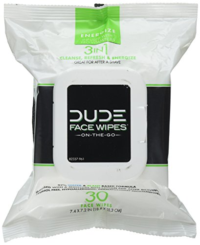 DUDE Face & Body Wipes 30 Count Energizing & Refreshing Scent Infused...