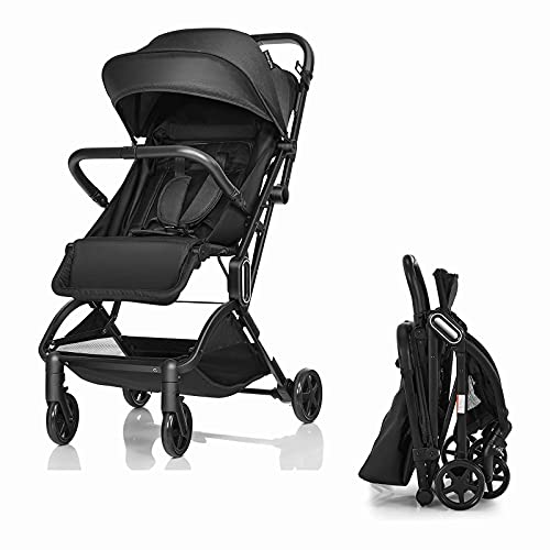 COSTWAY Baby Stroller, Lightweight Travel Buggy with 5-Point Harness, Adjustable Canopy, Footrest & Seat, One-Hand Fold Infant Pushchair for 0-3 Years (Black)