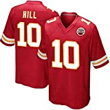 Maillot de Football américain pour Hommes Chiefs Hill 10#, Fibre de Polyester légère, Panneau latéral en Maille T-Shirt d'entraînement de Rugby à séchage Rapide, Haut brodé-red2-M