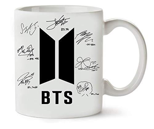 BakoIsland BTS Bangtan Boys Signatures Autograph Taza para Café y Té