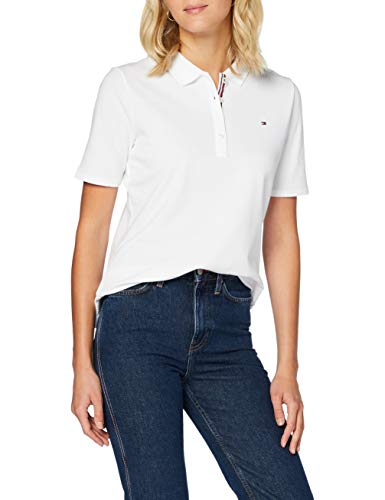 Tommy Hilfiger Th Essential Reg Polo SS Chemise, White, L Femme