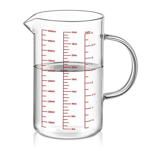 Luvan Vasos medidores de Vidrio (1L) , Taza de Medición de Cristal para cocina o restaurante, material de alta borosilica, fácil de leer