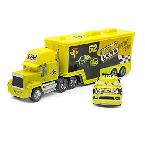Pixar Cars Lightning McQueen The King Chick Hicks Jackson Storm Mack Trucks Hauler & Racer Metal 1:55 Loose Boy Toy Cars (No. 52 Leak Less Truck and Racer)