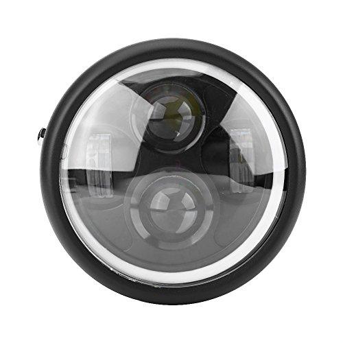 Faro LED redondo para motocicleta de 16,5 cm, 12 V, para faros delanteros de motocicleta, proyector redondo, LED con ojo de halo ángel blanco para Harley Sportster Cafe Racer Bobber