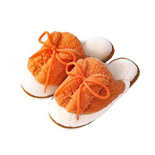 Zapatillas de moda para mujer, con costuras suaves, suaves, de espuma viscoelástica antideslizante, para interiores y exteriores, color naranja, M